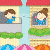 Lovely raining couple lover  Royalty Free Stock Photo