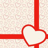 Lovely red card with hearts Stock Image