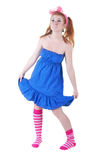 Lovely red-haired girl in  dark blue sundress. Stock Image