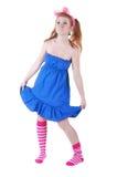 Lovely red-haired girl in  dark blue sundress. Stock Image