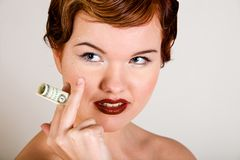 Lovely red-head young woman with stresses on face Stock Images