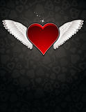 Lovely red heart on black background Stock Images