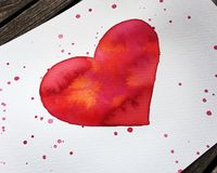 Red Heart - Watercolor-happy Valentines. Watercolor red heart with Stock Photography