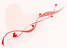 Lovely red hearts and lines. Saint valentine day background illustration, big pink heart and small red hearts Royalty Free Stock Photography