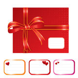 Lovely red present. Nice looking present sealed with red ribbon and designation cards, good for any occasions- vector illustration Stock Photography
