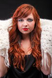 Lovely redhead-warm scarf Young beautiful red hair Stock Photo
