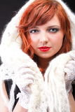 Lovely redhead-white glove warm scarf Royalty Free Stock Images