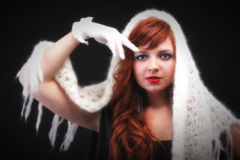 Lovely redhead- white glove warm scarf red hair Stock Photo