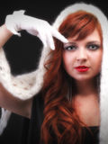 Lovely redhead - white glove warm scarf Young beautiful red hair Stock Images