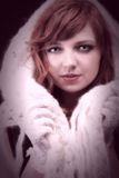 Lovely redhead - white glove warm scarf Young beautiful red hair Royalty Free Stock Photo