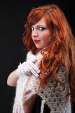 Lovely redhead - white glove warm scarf Young beautiful red hair Royalty Free Stock Images