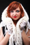 Lovely redhead - white glove warm scarf Young beautiful red hair Royalty Free Stock Image