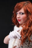 Lovely redhead - white glove warm scarf Young beautiful red hair Stock Photos