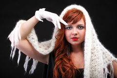 Lovely redhead - white glove warm scarf Young beautiful red hair Royalty Free Stock Photography