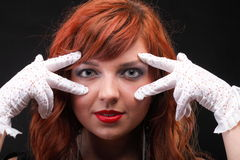 Lovely redhead - Young beautiful red haired woman. Blue eye Stock Photo