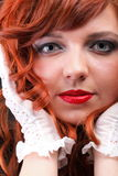 Lovely redhead - Young beautiful red haired woman. Lovely redhead - white glove Young beautiful red haired woman blue eye Stock Photos