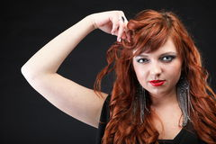 Lovely redhead - Young beautiful red haired woman. Blue eye Stock Images