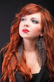 Lovely redhead - Young beautiful red haired woman. Blue eye Royalty Free Stock Images