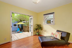 Lovely relaxation room with opening to back deck. Stock Photography