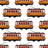 Lovely retro vector detailed tram car, side view, isolated, seamless. Royalty Free Stock Images