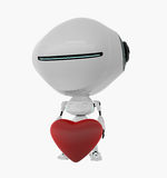 Lovely robot holds heart Royalty Free Stock Photos