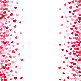 Lovely romance valentine white backgrouns with pink and red heart borders royalty free illustration