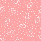 Lovely romantic seamless pattern. Repeated hearts and round dots drawn by hand. royalty free stock photos