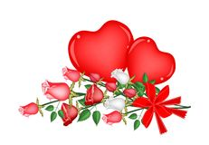 Lovely Rose with Red Bow and Two Hearts Royalty Free Stock Photography