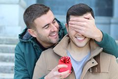 Lovely same sex couple sharing affection.  stock images