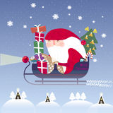 Lovely Santa Claus riding on sleigh. In flat style Royalty Free Stock Photos