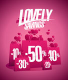 Lovely savings, Valentines day sale design concept Stock Photo