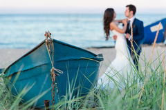 Lovely scene of bride and groom Stock Images