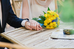 Lovely scene of bride and groom Royalty Free Stock Image