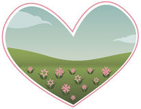 Lovely Scenery. A heart shaped view of the world - with green grass, pink flowers and clear blue sky... perfect for Valentine's Day, love, environmental and Royalty Free Illustration