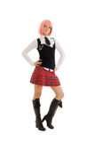 Lovely schoolgirl with pink hair Royalty Free Stock Photo