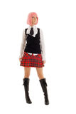 Lovely schoolgirl with pink hair Royalty Free Stock Photography