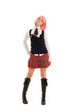 Lovely schoolgirl with pink hair Stock Image