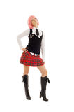 Lovely schoolgirl with pink hair Stock Photos