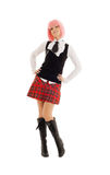 Lovely schoolgirl with pink hair Royalty Free Stock Image