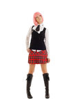 Lovely schoolgirl with pink hair Royalty Free Stock Images