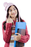 Lovely schoolgirl in winter clothes Royalty Free Stock Image