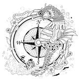 Lovely seahorse. Coloring page in exquisite style vector illustration