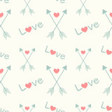 Lovely seamless pattern background with arrows and hearts Stock Photography