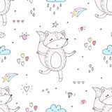Lovely seamless pattern with cute foxes and flowers. Awesome background in bright colors in vector. Lovely seamless pattern with cute foxes. Awesome background Stock Photos