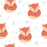 Lovely seamless pattern with cute foxes and flowers. Awesome background in bright colors in vector Stock Images