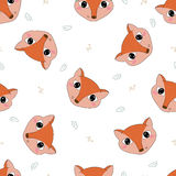 Lovely seamless pattern with cute foxes and flowers. Vector Print Royalty Free Stock Photos