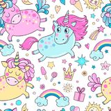 Lovely seamless pattern with cute unicorns. Rainbow, clouds, ice cream, sun, hearts and stars. Hand drawn illustration for you design on a white background in Royalty Free Stock Photo