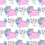 Lovely seamless pattern with cute unicorns. Rainbow, clouds, ice cream, sun, hearts and stars. Hand drawn illustration for you design on a white background in Stock Photo