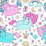 Lovely seamless pattern with cute unicorns. Rainbow, clouds, ice cream, sun, hearts and stars. Hand drawn illustration for you design on a white background in Stock Images