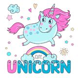 Lovely seamless pattern with cute unicorns. Rainbow, clouds, ice cream, sun, hearts and stars. Hand drawn illustration for you design on a white background in Stock Photography